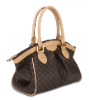 RIONI Signature Brown Ruched Satchel ST-20253