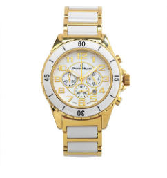 Men's Gold/White Ceramic Watch