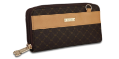 RIONI Signature Brown Dual Zip Wallet Organizer ST-W020