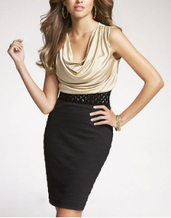 Drape-Neck Banded Skirt Dress