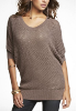 Metallic Open-Stitch Dolman Sweater