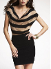 Striped Drape-Neck Banded Sweater Dress