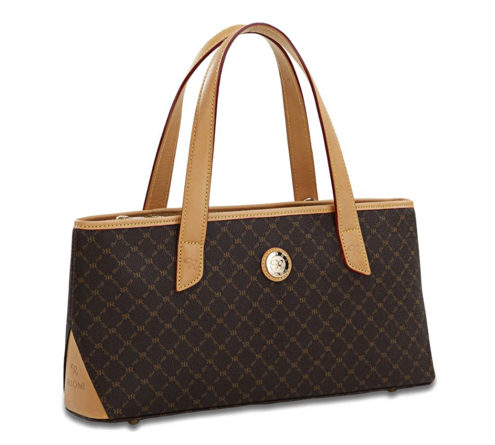 Rioni Signature Brown East West Handle Bag St 20087