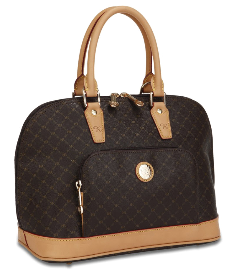 Rioni Signature Brown Dome Handle Bag St 20001